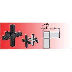 Connecteur en croix avec sortie tube 30x30x2